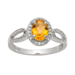 Sterling Silver Citrine and Lab-Created White Sapphire Halo Ring