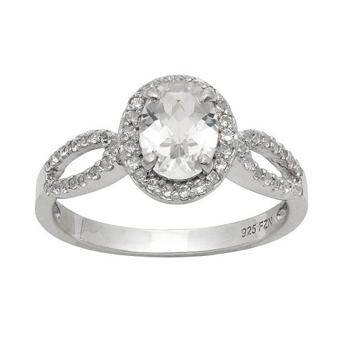 Sterling Silver Lab-Created White Sapphire Halo Ring