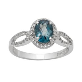 Sterling Silver London Blue Topaz and Lab-Created White Sapphire Halo Ring