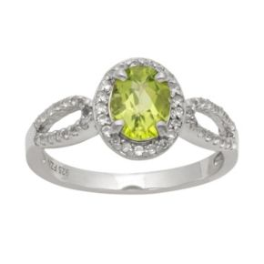 Sterling Silver Peridot and Lab-Created White Sapphire Halo Ring