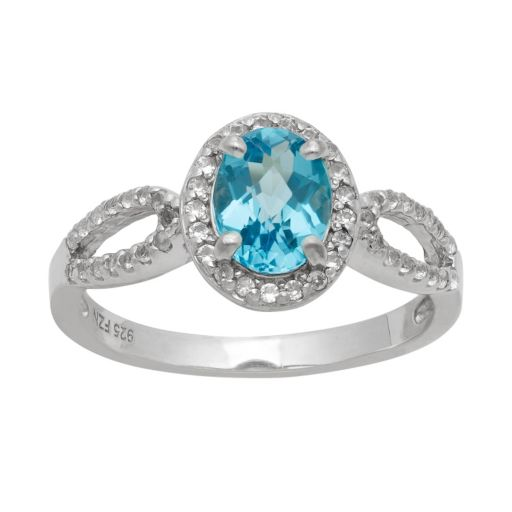 Sterling Silver Swiss Blue Topaz and Lab-Created White Sapphire Halo Ring