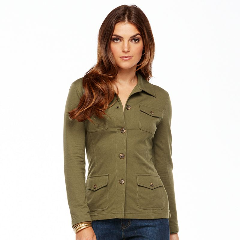 Chaps Solid Jacket - Petite