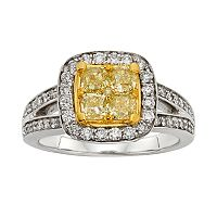 Yellow & White Diamond Halo Engagement Ring in 14k Gold Two Tone (1 4/5 ctT.W.)