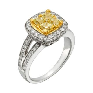 Yellow and White Diamond Halo Engagement Ring in 14k Gold Two Tone (1 4/5 ct. T.W.)