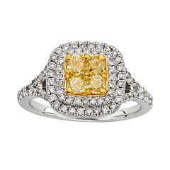 Yellow & White Diamond Halo Engagement Ring in 14k Gold Two Tone (1 1/3 ctT.W.)