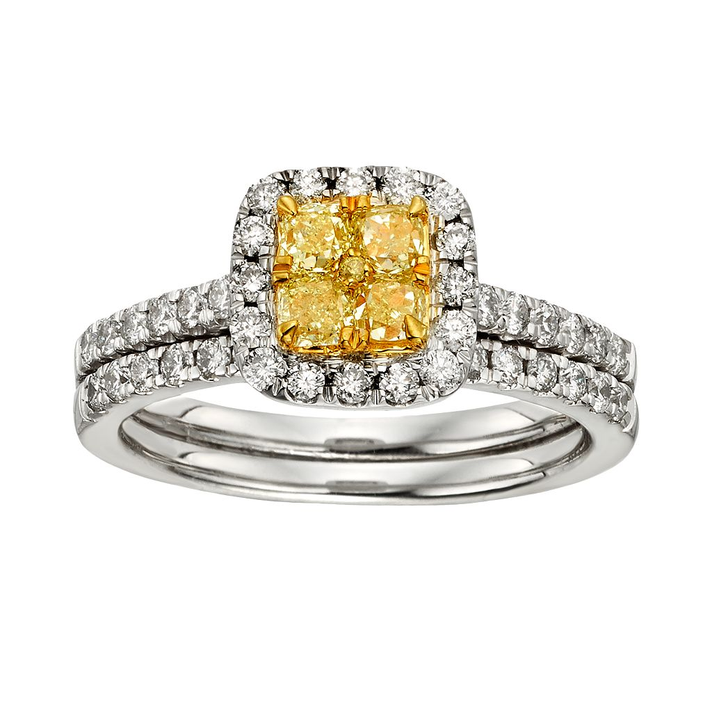 Yellow & White Diamond Halo Engagement Ring Set in Two Tone 14k Gold (1 ct. T.W.)