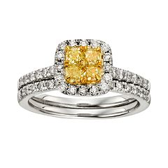 Yellow & White Diamond Halo Engagement Ring Set in Two Tone 14k Gold (1 ctT.W.)