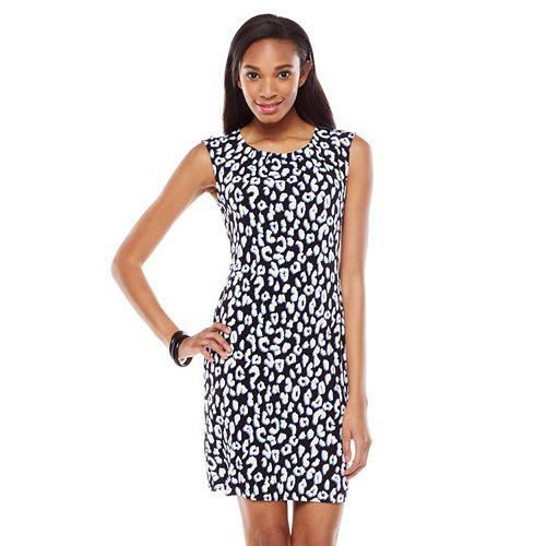 Apt. 9® Cheetah Pleated Shift Dress - Women's