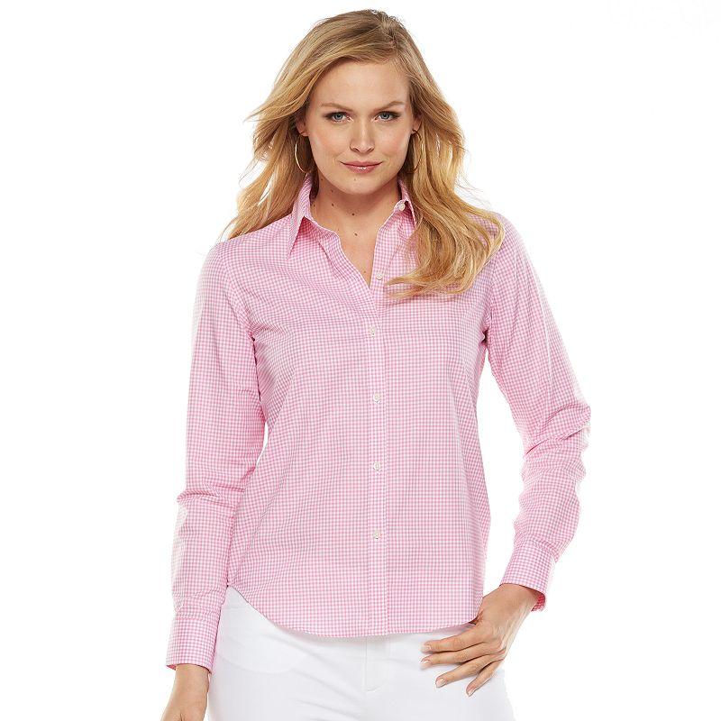 Womens pink white shirt kohl 39 s for No iron white shirt womens
