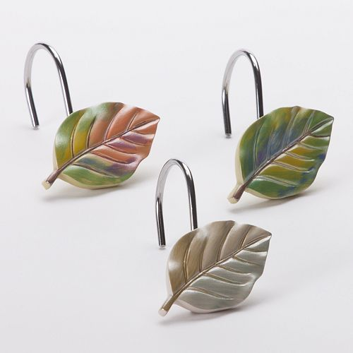 Peacock Leaves 12 Pk Shower Curtain Hooks