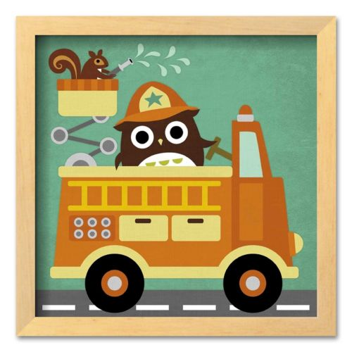 Art.com Owl in Firetruck and Squirrel Framed Art Print by Nancy Lee
