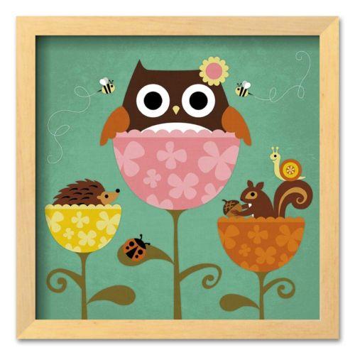 Art.com Owl, Squirrel and Hedgehog in Flowers Framed Art Print by Nancy Lee