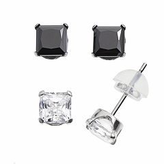 Renaissance Collection 10k White Gold 2 1/4 ctT.W. Stud Earring Set - Made with Swarovski Zirconia