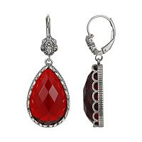 Sterling Silver Glass, Crystal & Marcasite Teardrop Earrings - Made with Swarovski Crystals