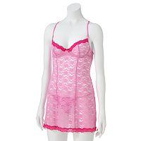 Women's Apt. 9® Pretty Lace Babydoll Lingerie Set