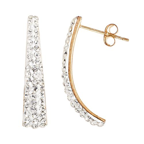 14k Gold-Bonded Sterling Silver Crystal J-Hoop Earrings