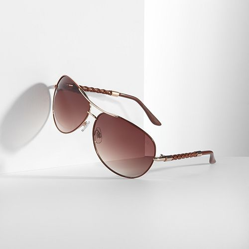 Simply Vera Vera Wang Palladium Aviator Sunglasses