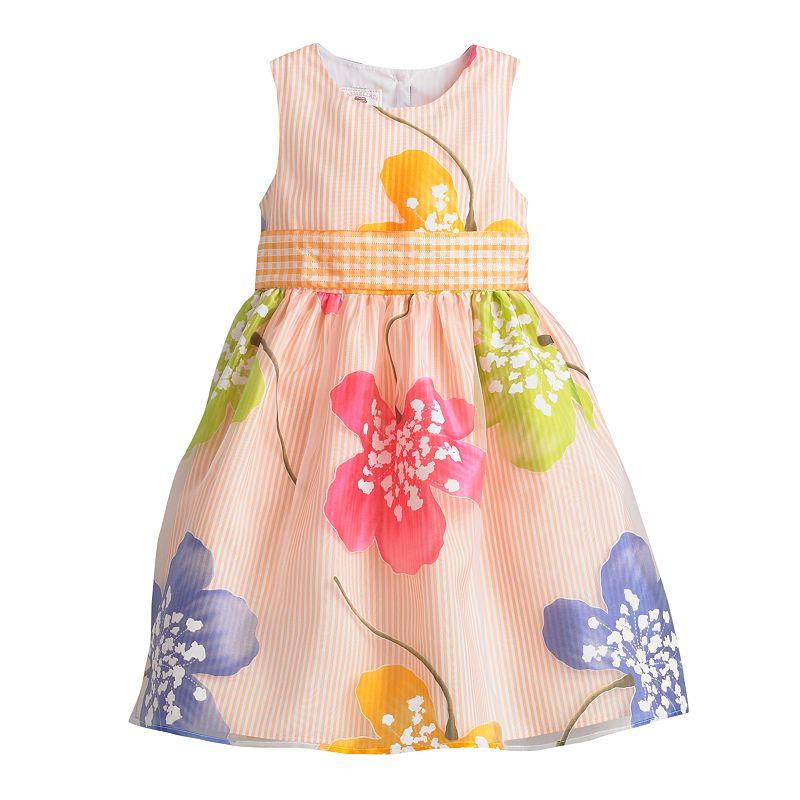 Marmellata Classics Striped Floral Dress - Girls 4-6x
