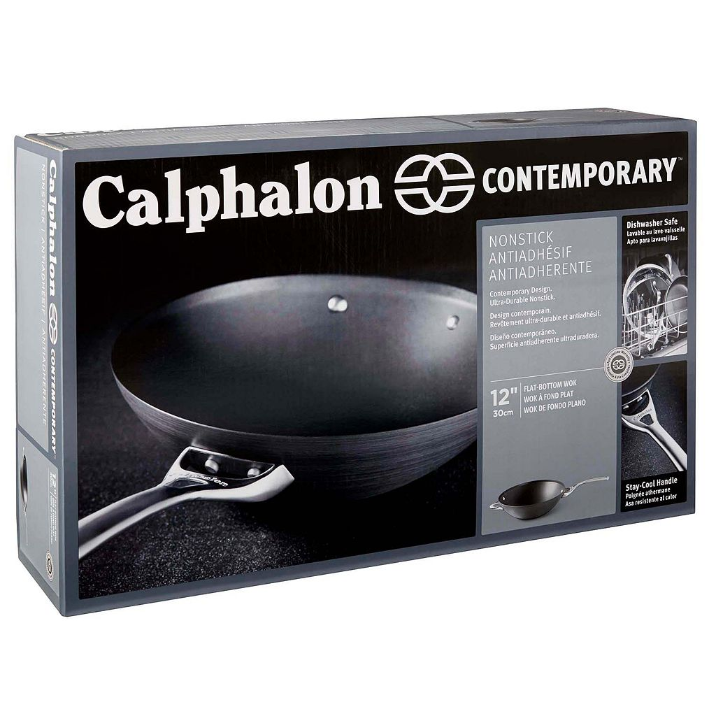 Calphalon Contemporary Nonstick 12-in. Hard-Anodized Flat-Bottom Wok