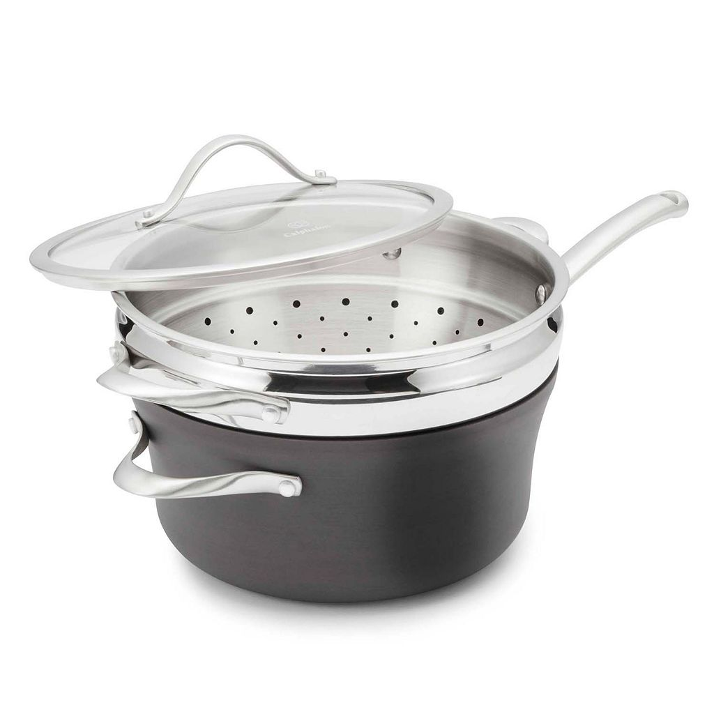 Calphalon Contemporary Nonstick 4.5-qt. Hard-Anodized Covered Saucepan with Steamer Insert
