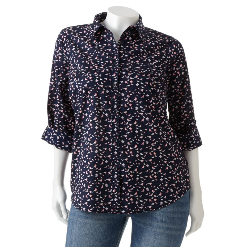 SONOMA life + style Printed Roll-Tab Shirt - Women's Plus