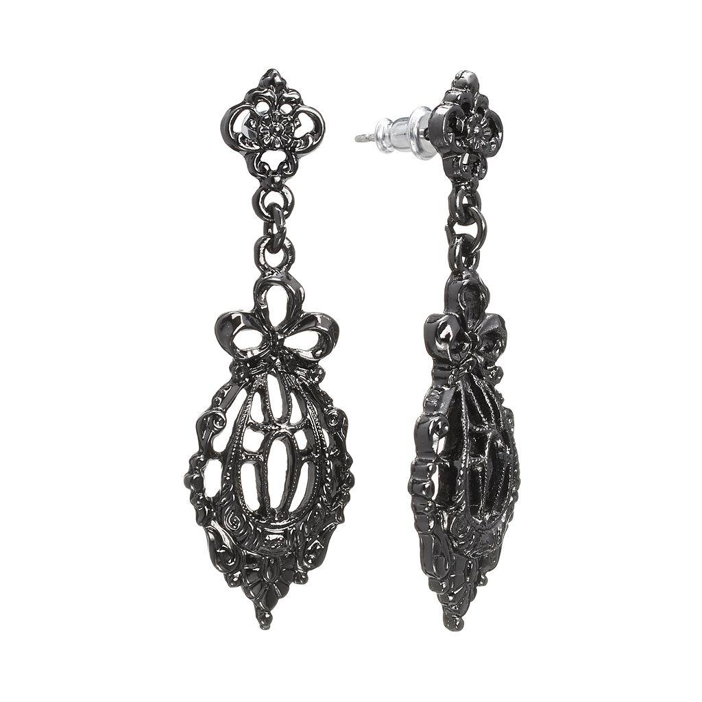 Downton Abbey® Jet Filigree Bow Drop Earrings