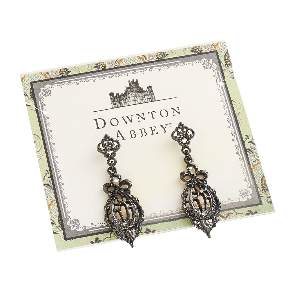 Downton Abbey Jet Filigree Bow Drop Earrings