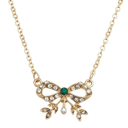 Downton Abbey® Gold Tone Simulated Crystal Bow Collar Necklace