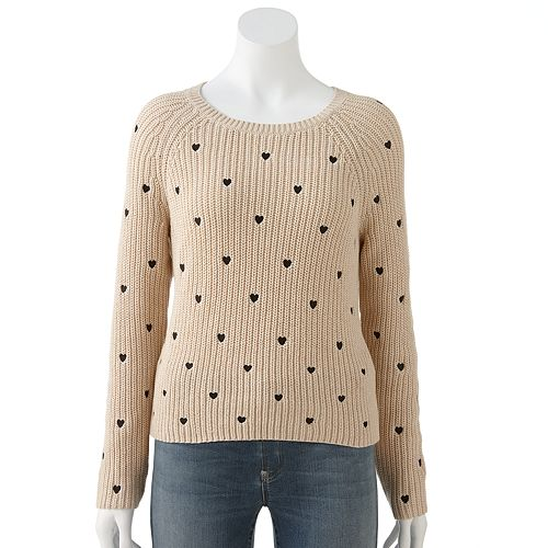 Women's LC Lauren Conrad Heart Cropped Sweater