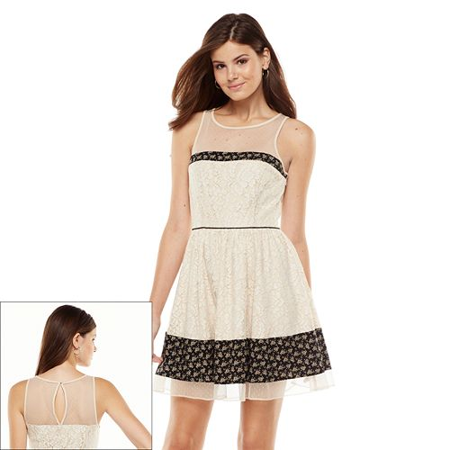 LC Lauren Conrad Lace Mixed-Media Fit & Flare Dress - Women's