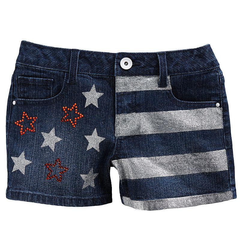 SO American Flag Denim Shorts - Girls Plus