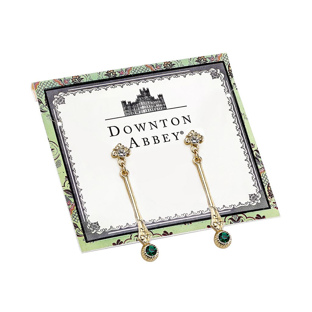 Downton Abbey Silver Tone Simulated Crystal Linear Drop Earrings