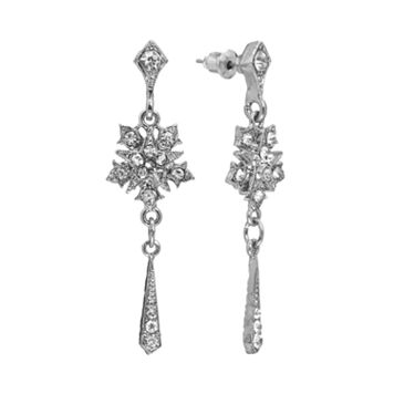 Downton Abbey® Silver Tone Simulated Crystal Star Drop Earrings