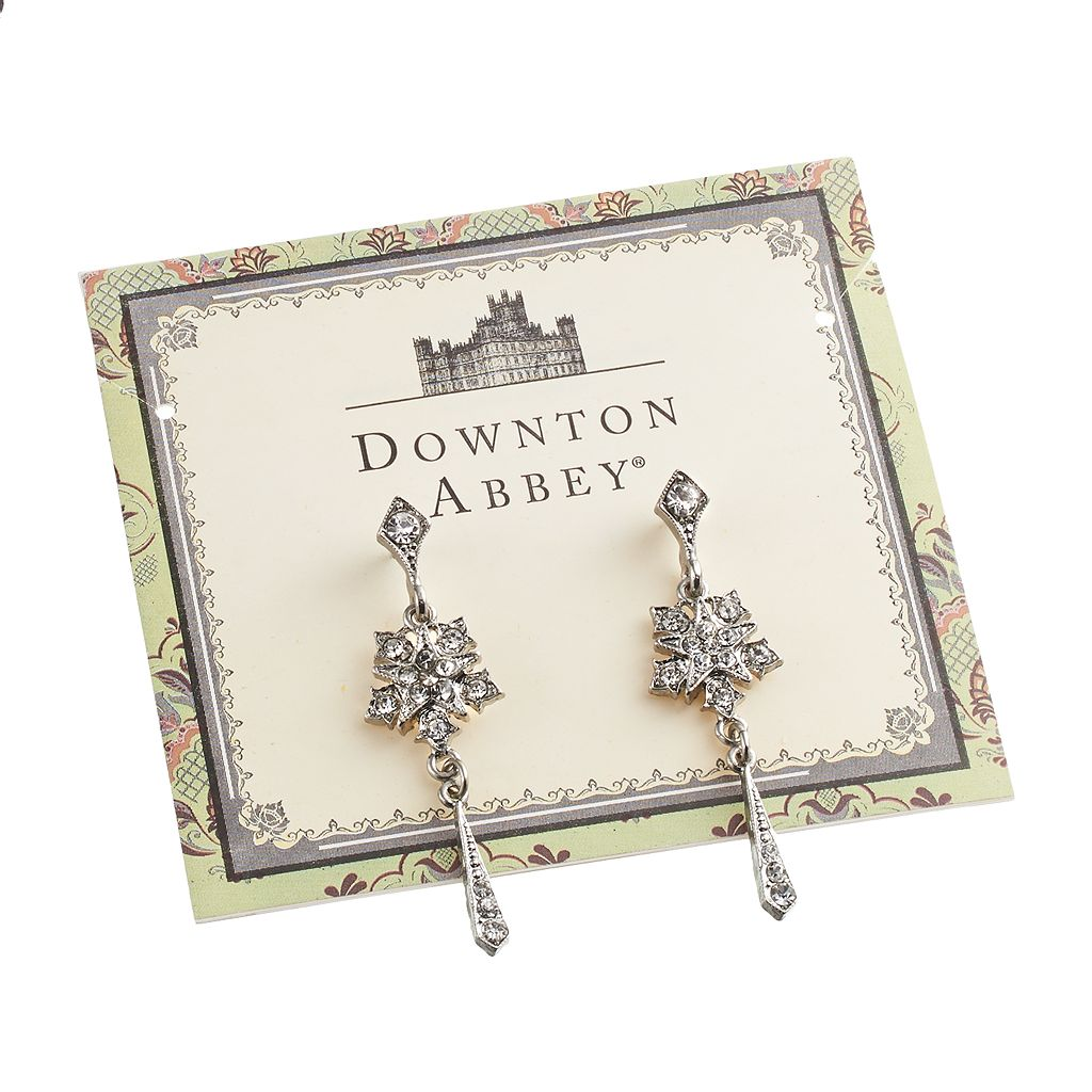 Downton Abbey Silver Tone Simulated Crystal Star Drop Earrings