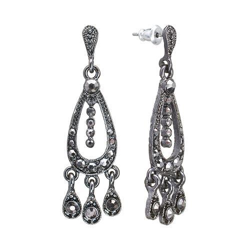 Downton Abbey® Jet Simulated Crystal Chandelier Earrings