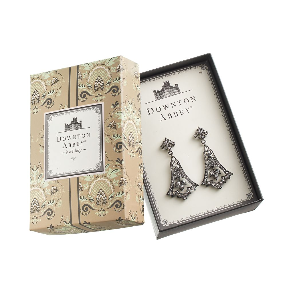Downton Abbey Jet Simulated Crystal Drop Earrings