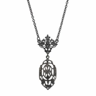 Downton Abbey Jet Openwork Y Necklace