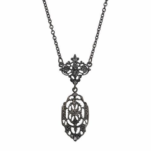 Downton Abbey® Jet Openwork Y Necklace