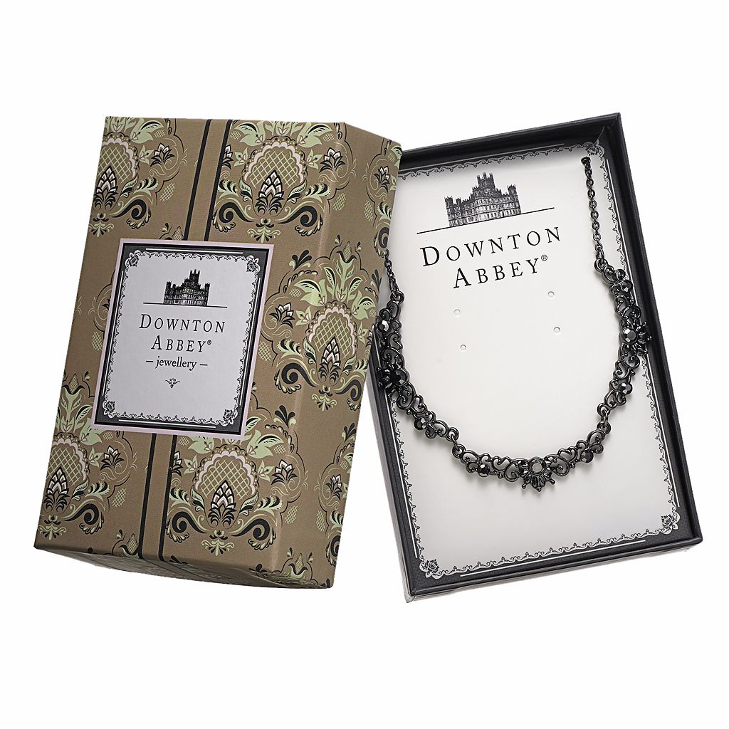 Downton Abbey Jet Simulated Crystal Necklace