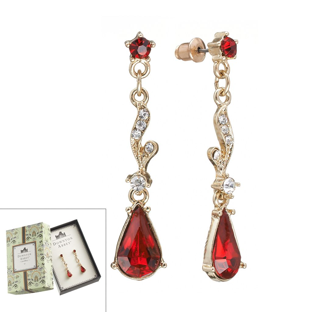 Downton Abbey® Gold Tone Simulated Crystal Linear Drop Earrings