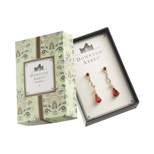 Downton Abbey Gold Tone Simulated Crystal Linear Drop Earrings