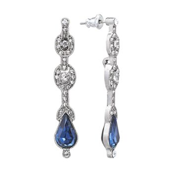 Downton Abbey® Silver Tone Simulated Crystal Linear Drop Earrings