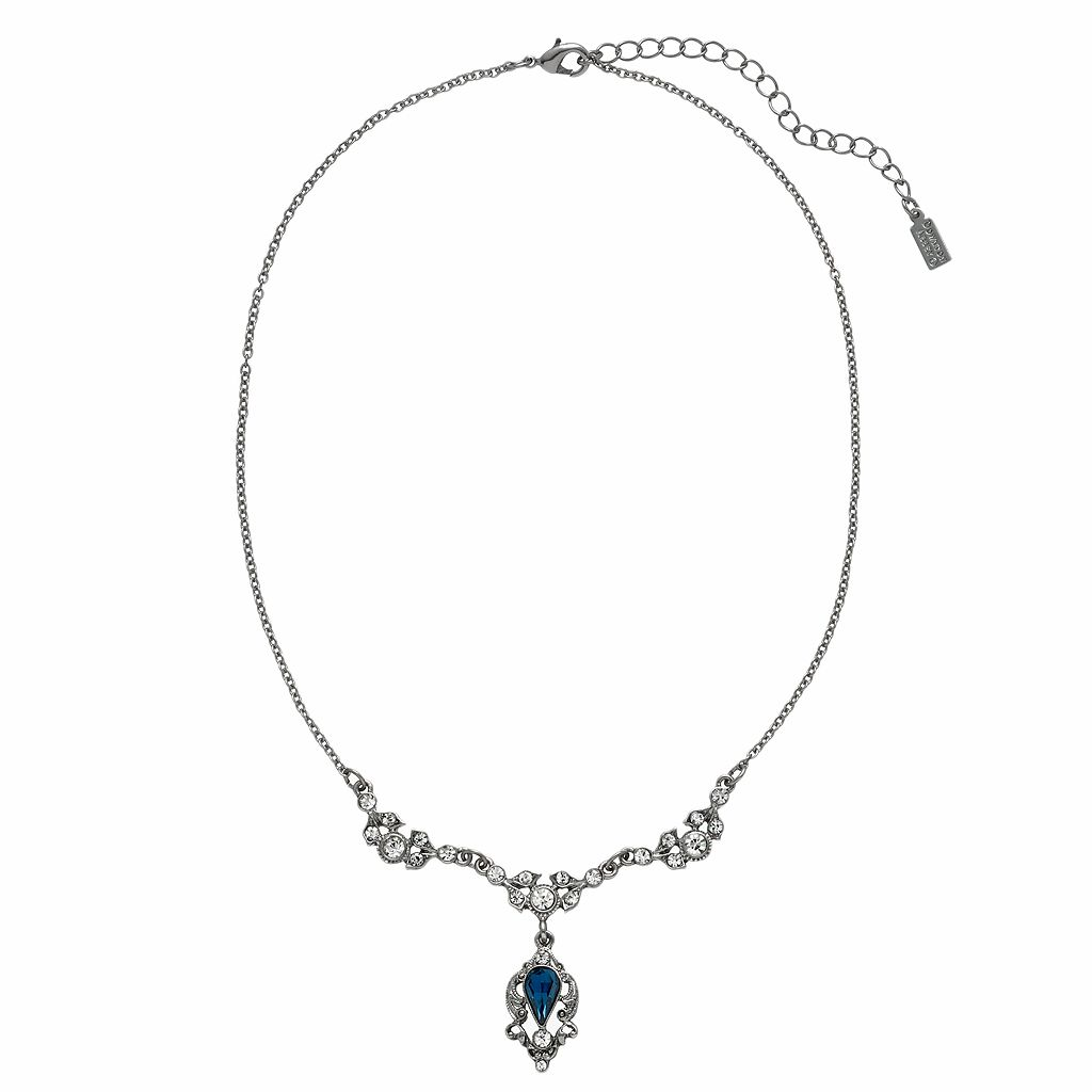 Downton Abbey® Silver Tone Simulated Crystal Y Necklace
