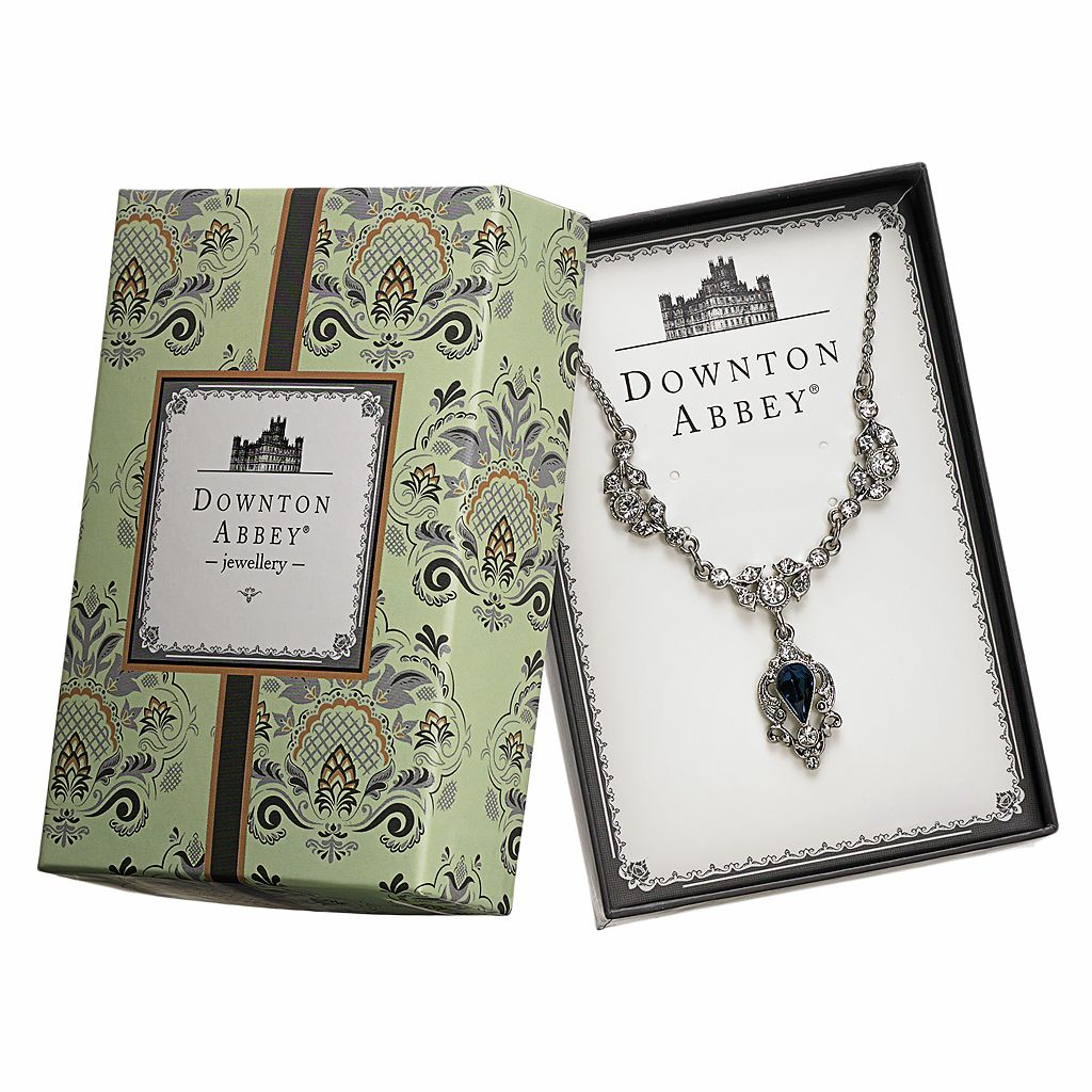 Downton Abbey Silver Tone Simulated Crystal Y Necklace