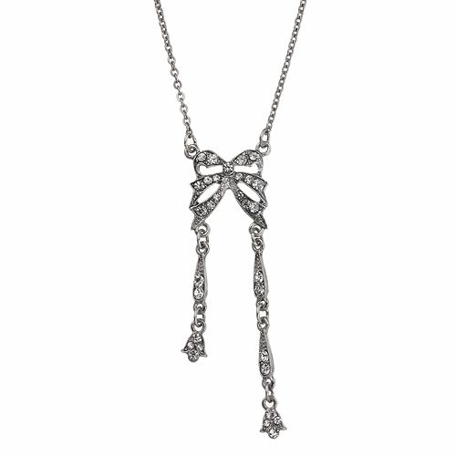 Downton Abbey® Silver Tone Simulated Crystal Bow Necklace