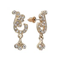 Downton Abbey® Gold Tone Simulated Crystal & Filigree Scroll Drop Earrings