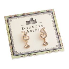 Downton Abbey Gold Tone Simulated Crystal and Filigree Scroll Drop Earrings