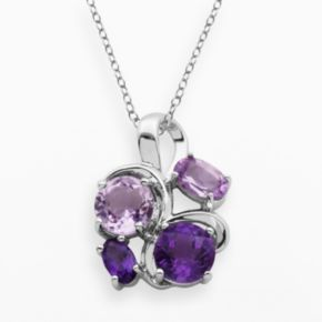 Sterling Silver African Amethyst and Brazilian Amethyst Cluster Pendant