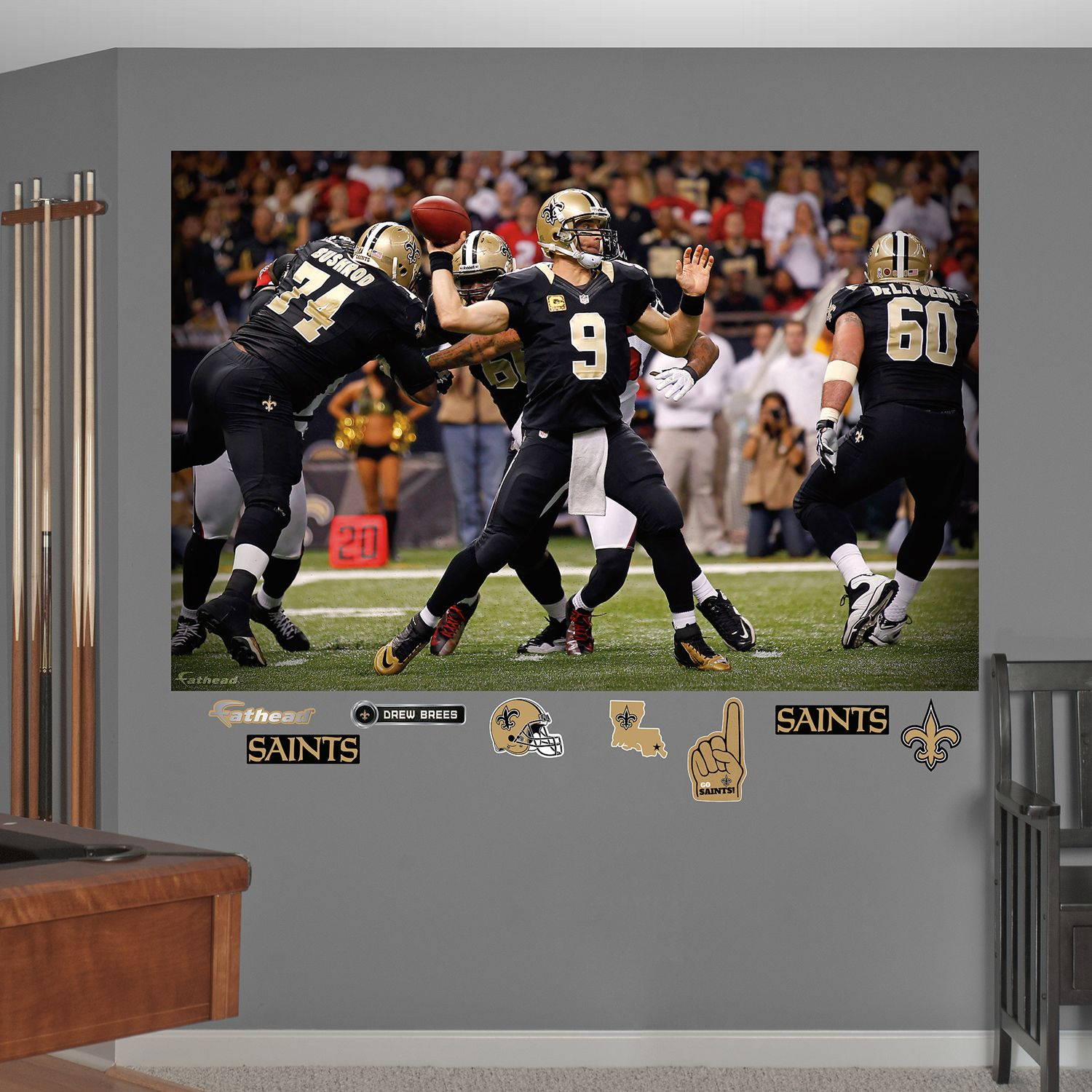 Fathead New Orleans Saints Huddle Mural Wall Decals. Regular & Fathead New Orleans Saints Drew Brees Wall Decals