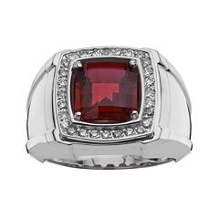 Sterling Silver Lab-Created Garnet & 1/4 ctT.W. Diamond Ring - Men